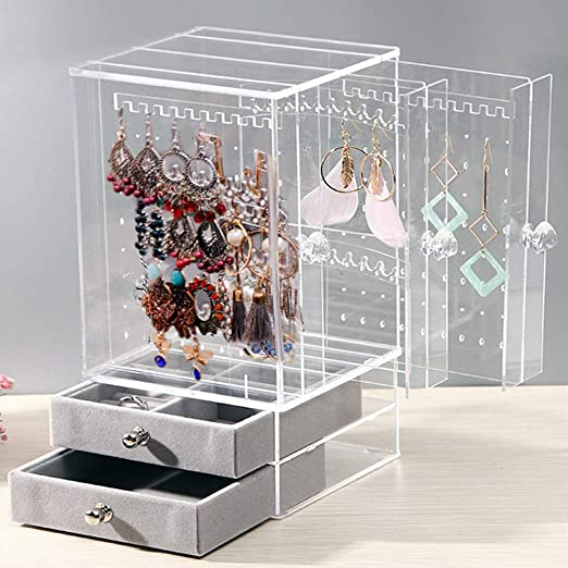 Amazon Com Mano Acrylic Jewelry Organizer Clear Earring Jewelry Box Organizer For Kids Women Men Earring Holder Jewelry Storage Trays Drawer Stand Case For Ring Bracelet Necklace Home Kitchen