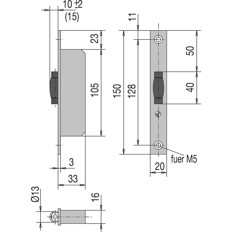 Schwing-T/ür 1 St/ück WSS Rollfallenschloss f/ür Pendelt/ür 33 mm Tiefe Stulpe 150 mm flach Edelstahl