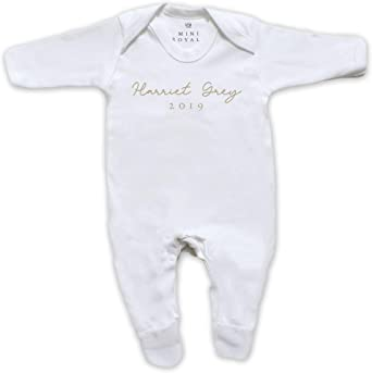 mini royals Personalised Baby Surname Organic Star Sleepsuit Baby boy Gifts Baby Girl Gifts