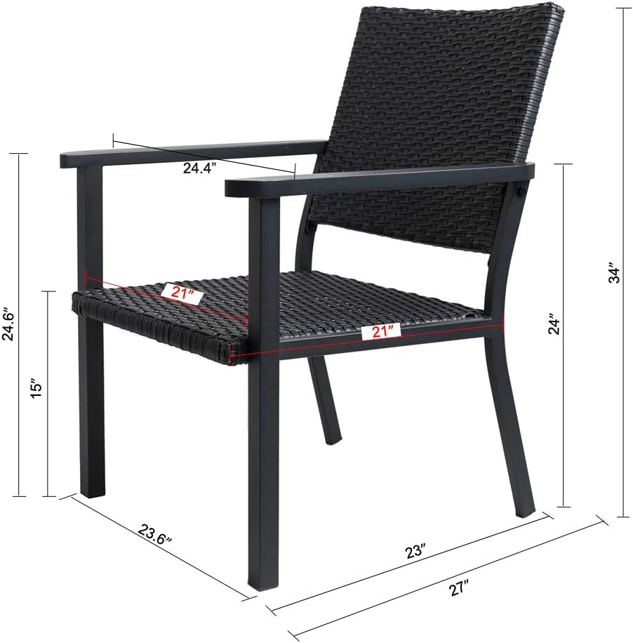 C-Hopetree Patio Lounge Chair All Weather Outdoor Wicker Metal Frame