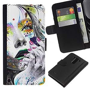 KLONGSHOP // Tirón de la caja Cartera de cuero con ranuras para tarjetas - Cara Chica colorido - LG G3 //