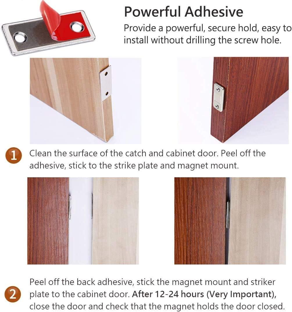 Cabinet Door Magnets Ultra Thin Drawer Magnet Catch Strong Magnetic Door Catch for Kitchen Cupboard Wardrobe Closet Cabinet Door Drawer ZMATY 10Pcs Punch-Free Magnetic Door Closer