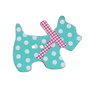 Botones - TOOGOO(R)50 piezas botones de coser de madera de dibujos animados de animales(perros): Amazon.es: Hogar