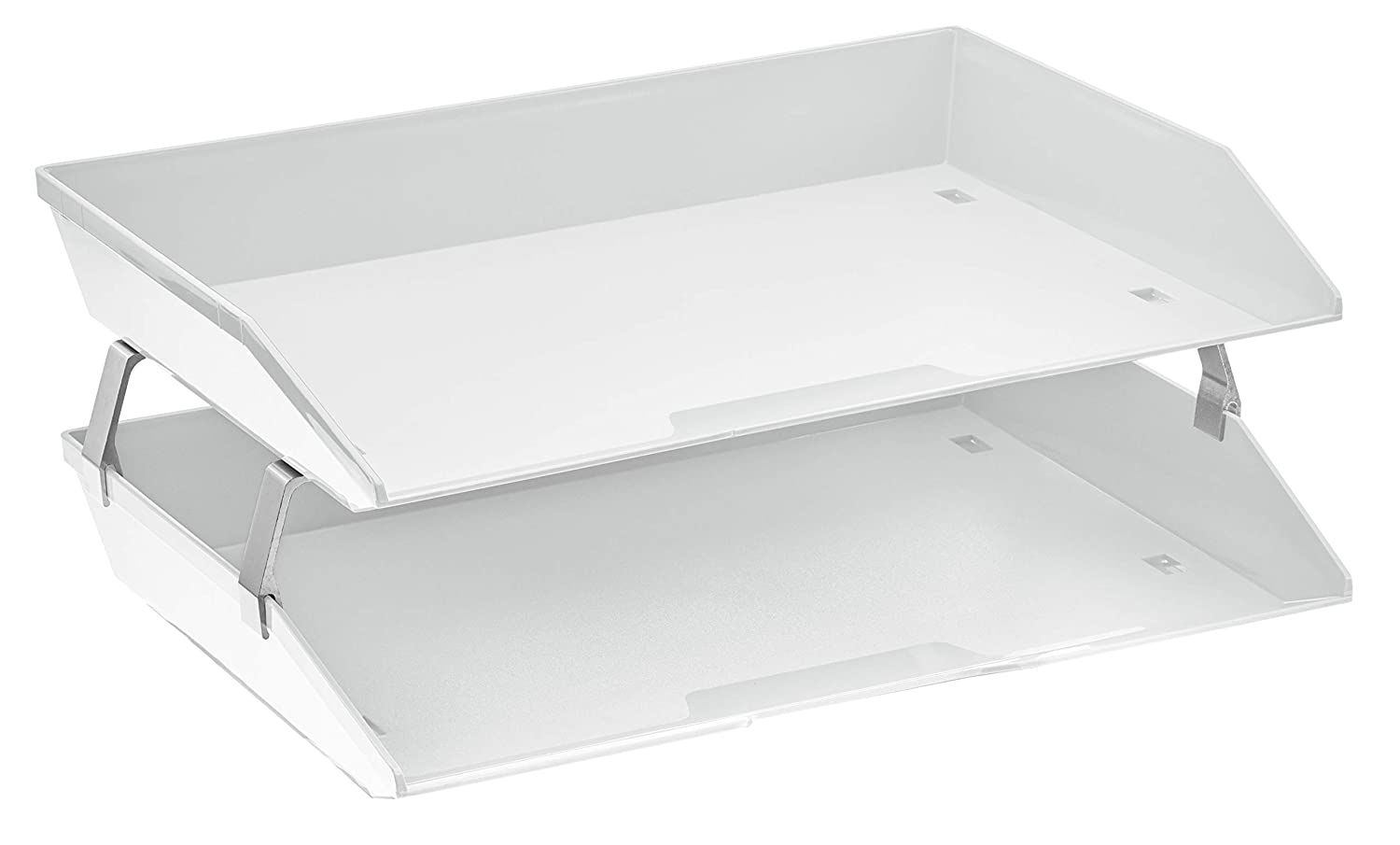 Acrimet Facility 2 Tier Letter Tray Plastic Desktop File Organizer (White Color)