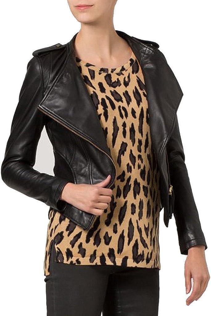 New Womens Leather Slim Fit Genuine Lambskin Biker Jacket LTW082