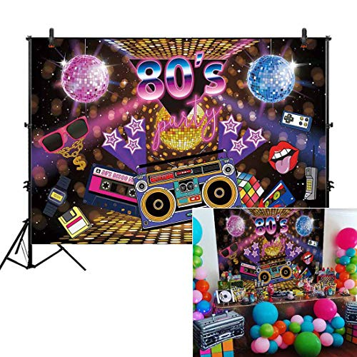 Allenjoy 7x5ft Fabric We Love The 80s Party Backdrop for Pictures Hip Hop Rock Music Disco Retro Adult Birthday Colorful House Wall Event Banner Decorations Photo Booth Shoot Photography Background -