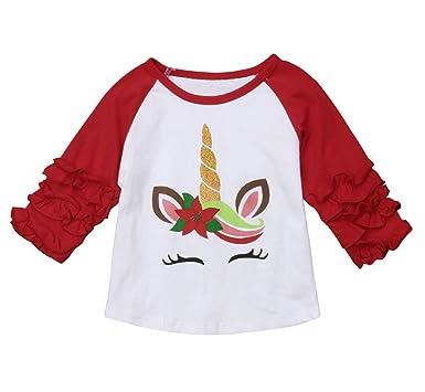 7ddbc8377ae1 Amazon.com  Kids Toddler Baby Girls Unicorn Christmas T-Shirt Ruffle ...