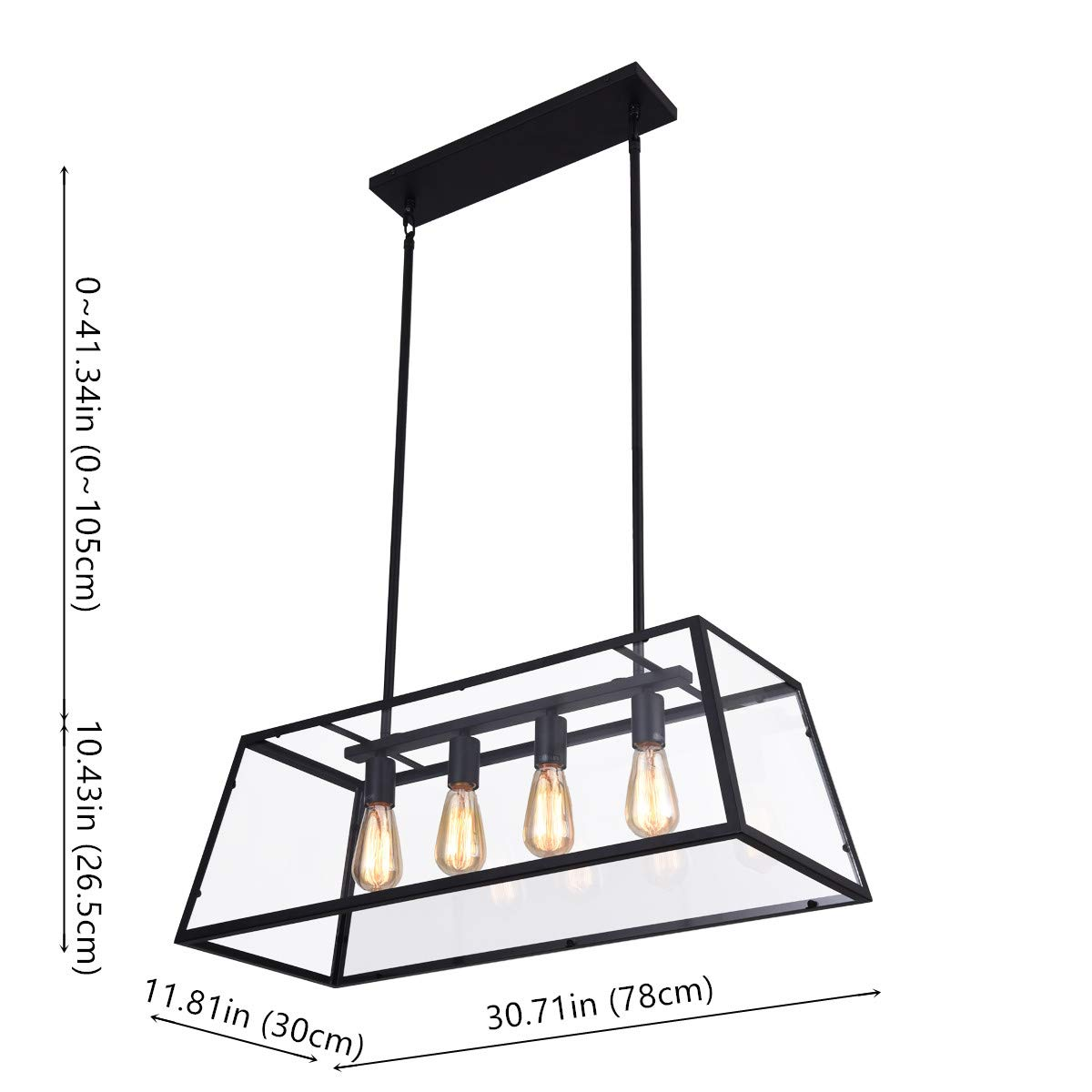 mirrea 4-Light Kitchen Island Pendant Matte Black Shade with Clear Glass Panels Modern Industrial Chandelier for Dinning Room by mirrea (Image #7)