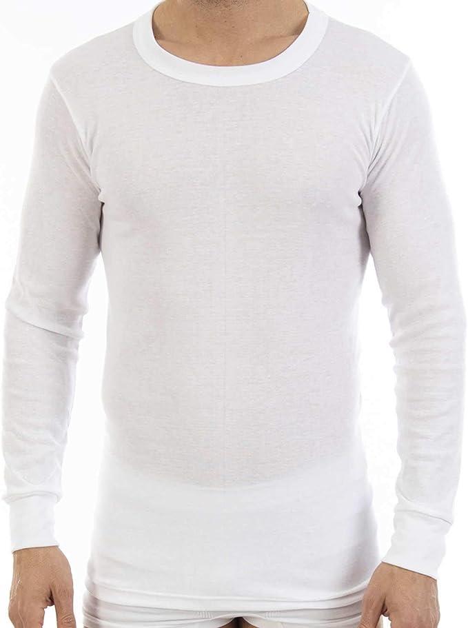 Pack de 3 Camiseta Interior Warm Hombre, de Manga Largo y Cuello Redondo. Modelo L103, colección Warm, Color Blanco. Camiseta de algodón con perchado Interior Que aisla del frío.: Amazon.es: Ropa y