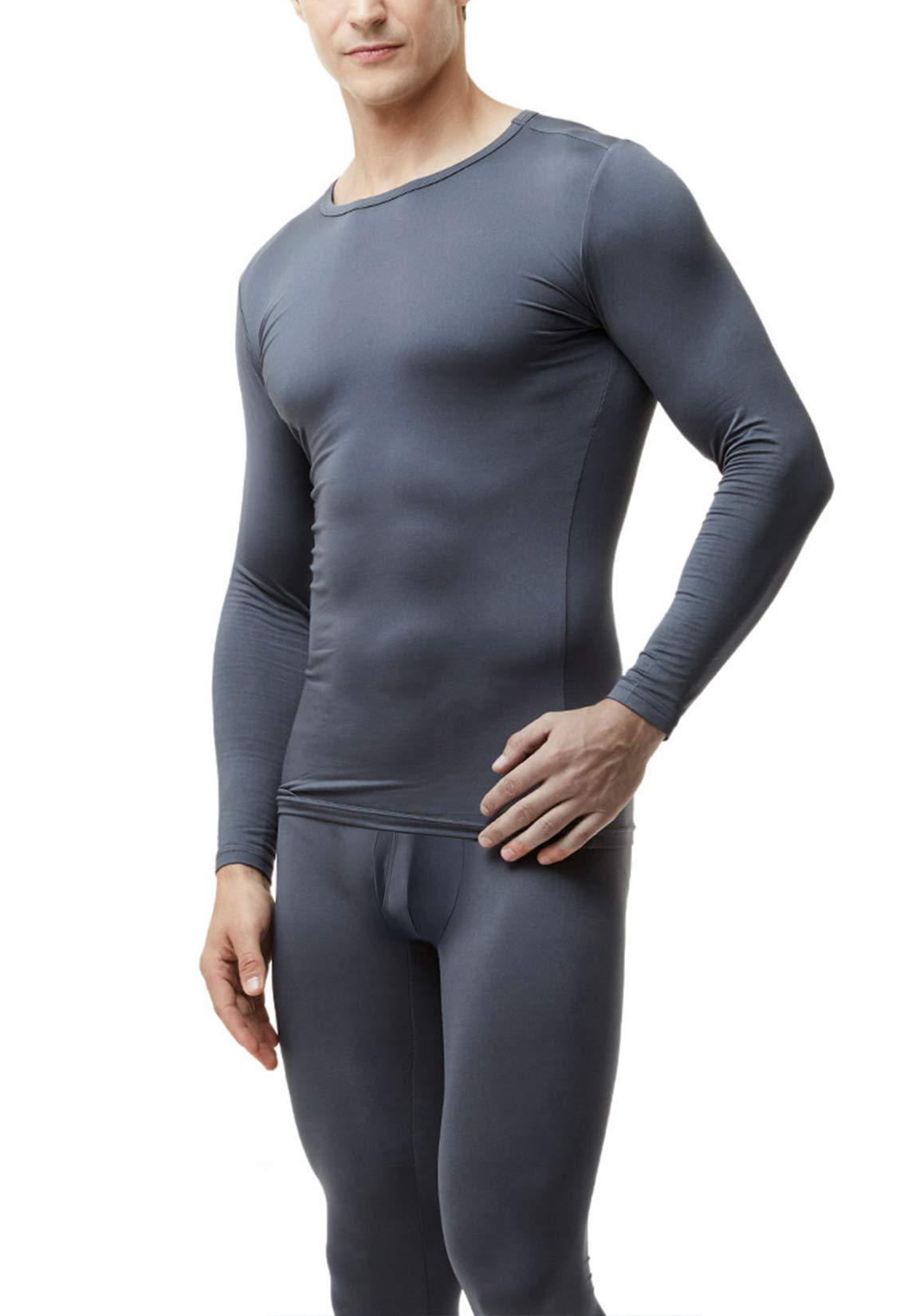 TSLA Blank Men's Microfiber Fleece Lined Top & Bottom Set, Thermal Fly-Front Fleece(mhs103) - Dark Grey, X-Large by TSLA