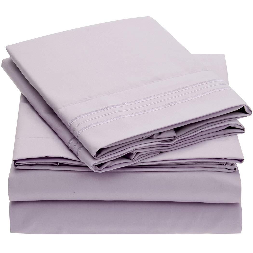 Mellanni Bed Sheet Set - Brushed Microfiber 1800 Bedding - Wrinkle, Fade, Stain Resistant - Hypoallergenic - 4 Piece (King, Lavender)