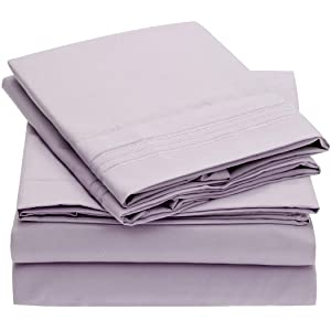 Mellanni Bed Sheet Set Brushed Microfiber 1800 Bedding - Wrinkle, Fade, Stain Resistant - Hypoallergenic - 3 Piece (Twin XL, Lavender)