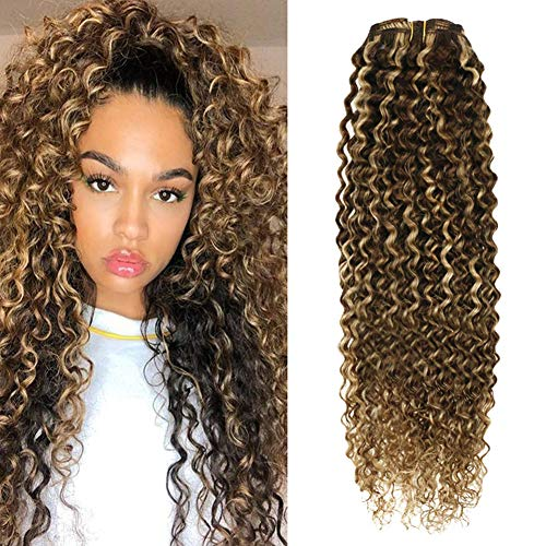 Hetto 12 Inch Double Weft Clip in Human Hair Extensions #4 Brown Highlights with #27 Blonde Clip on Hair Extensions Human Hair Blonde Curly Hair Extensions 7pcs 100 Grams Per Pack