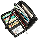 Dante Women's RFID Blocking Pebbled Real Leather Zip Around Wallet Clutch Large Travel Purse(Large Size Pebble Black)
