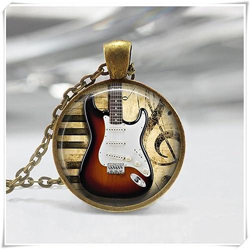 Colgante de guitarra eléctrica, joyería de instrumento, collar de guitarra eléctrica, cúpula de cristal, puro hecho a mano: Amazon.es: Joyería