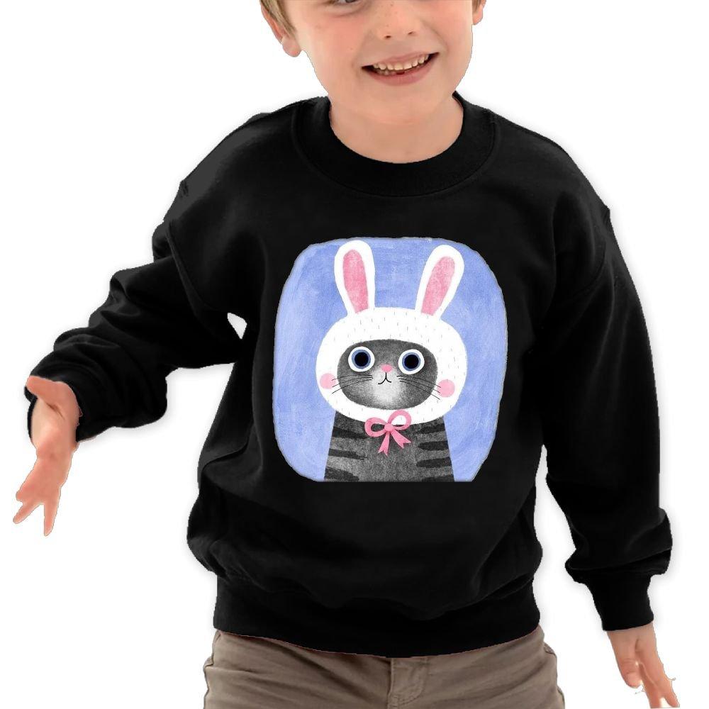 Anutknow Cute Cats Kittens Pretending Bunny Cat Childrens Round Neck Soft Hoodies Sweatshirt