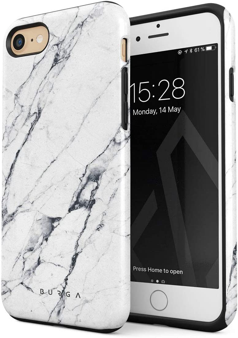 BURGA Phone Case Compatible with iPhone 7/8 / SE 2020 - Satin White Marble Cute Case for Girls Heavy Duty Shockproof Dual Layer Hard Shell + Silicone Protective Cover