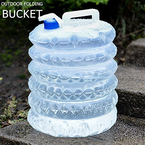 Meicent Outdoor Collapsible Water Container,Food Grade PE Soft Plastic(BPA Free),Leak Proof Lid,Adjustable Spigot,Portable Water Carrier for Camping,Outdoor Survival,Picnic,BBQ,1.3gal(5L)