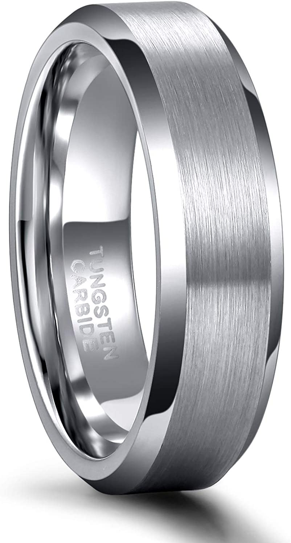 Tungsten 6mm Brushed Center /& Ridge Edge Wedding Band