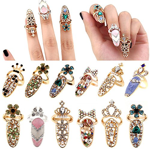 12pcs Women Fashion Bowknot Nail Ring Charm Crown Flower Crystal Finger Nail Rings