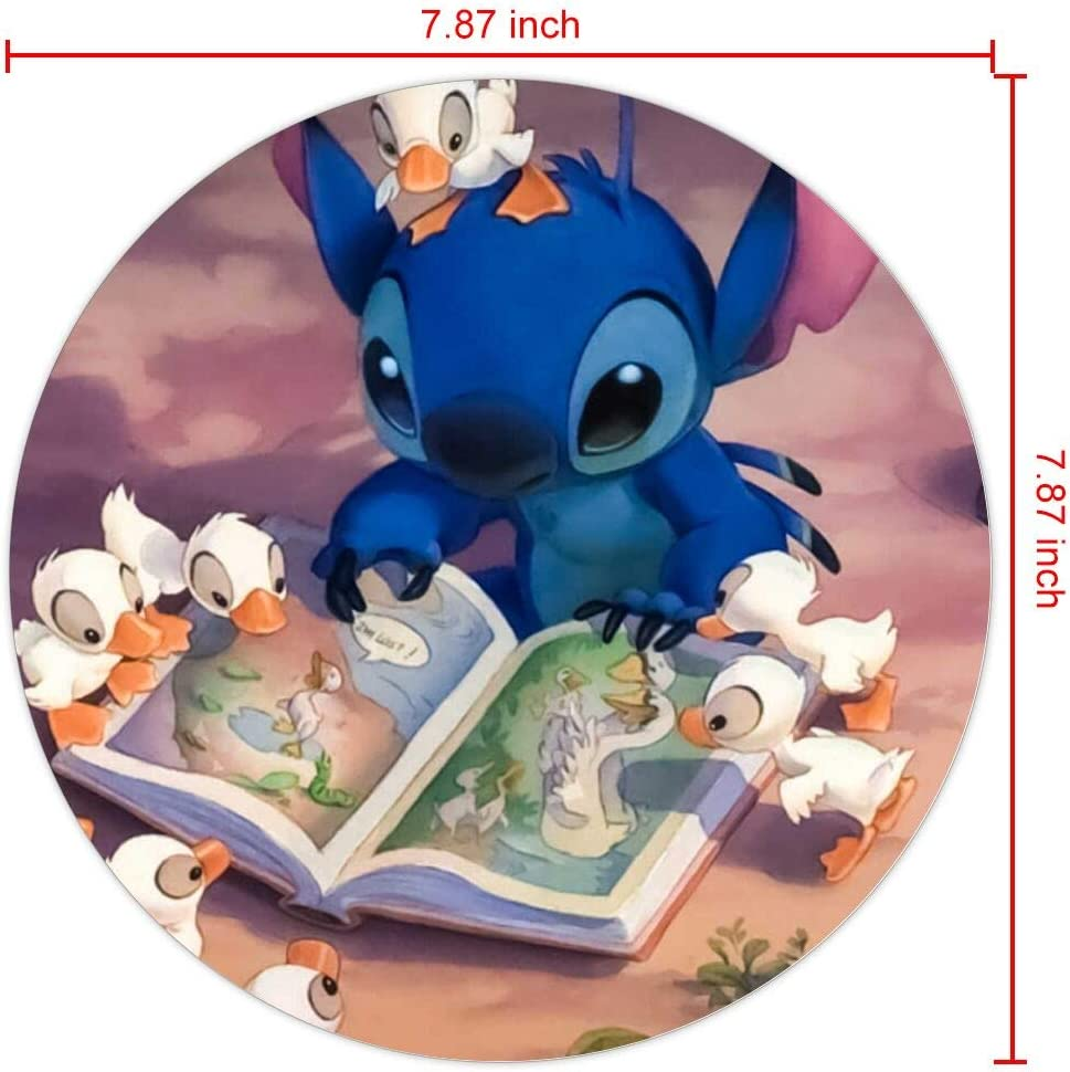 DISNEY COLLECTION Mouse Pad Round Mouse Pad Stitch Reading Lightweight
