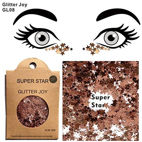 Glitter para cara Cuerpo Pelo GL08Metallic estrellas Rose GlitterJoy