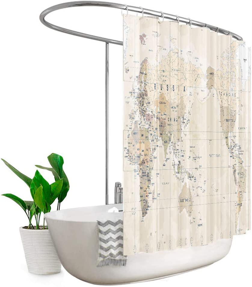 Riyidecor Extra Wide World Map Clawfoot Tub Shower Curtain 108Wx72H Inch 18 Pack Metal Hooks Kids Boys Geography Adventure Awaits Vintage Decor Bathroom Fabric Polyester Waterproof