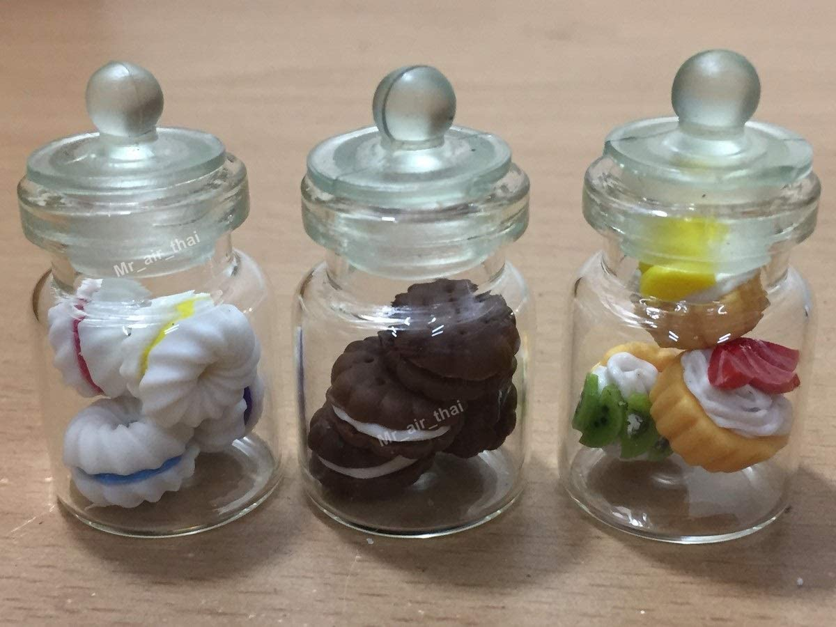 3pc Miniature Chocolate Cake Food Candy Cookie Dollhouse Cake in Clear Glass Mini Bottle Fruit Food #MF018