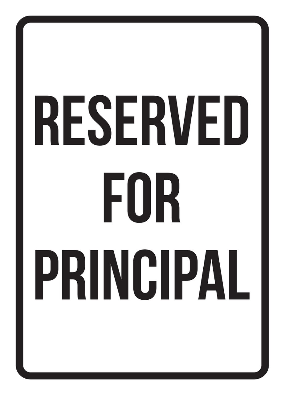 iCandy Products Inc Reserved for Principal No Parking Business Safety Traffic Signs Black - 7.5x10.5 - Metal