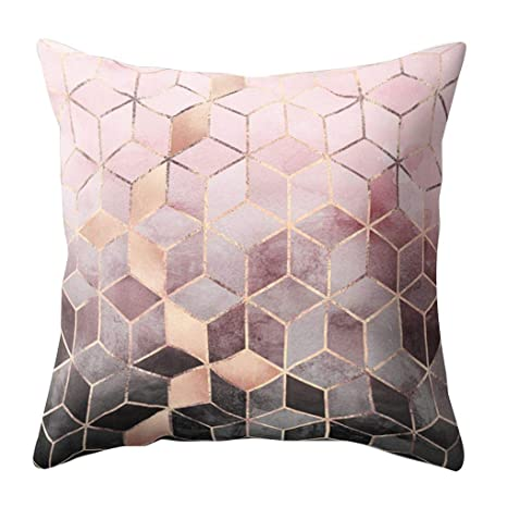 Sunlera Geométrica Velvet Peach Almohadilla de Tiro del Caso Cojín Cuadrado Cubierta del Coche Dormitorio Sofá Decoración