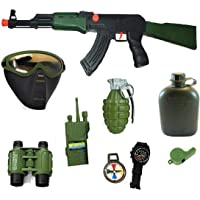 HALO NATION® Military Friction Combat Force 9 Piece Boys Toys Playset with Friction Gun , Gas Mask , Bomb , Bottle , Phone , Binocular & More
