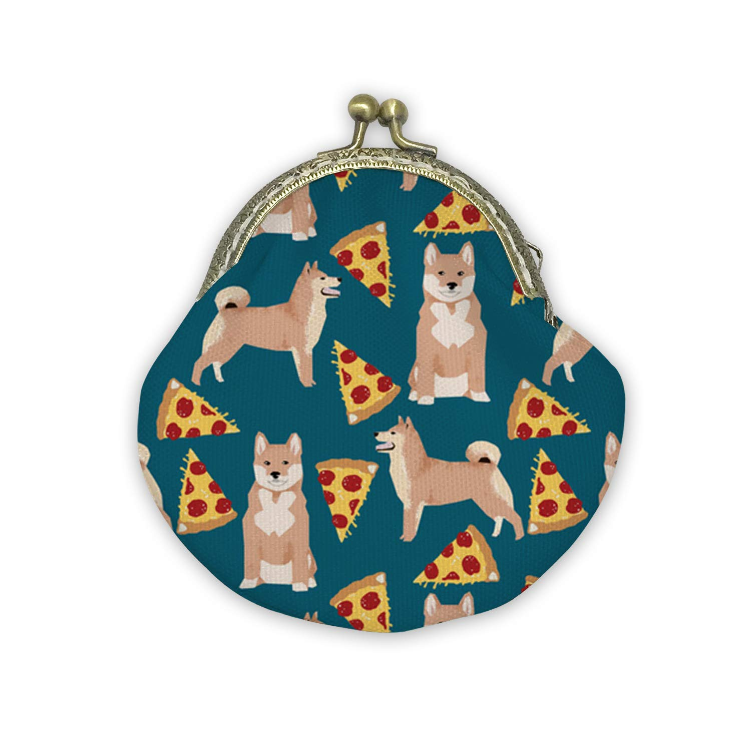 Shiba Inu and Sushi Mouth Gold Bag Canvas Coin Purse Cash Bag Small Purse Wallets Mini Money Bag Change Pouch Key Holder Double Sides Printing