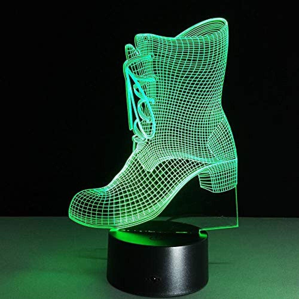 3D Botas De Luz Nocturna Forma De Zapatos Luz Led Lámpara De Ilusión 3D Regalo De Año Para Niños Luz De Noche 7 Cambio De Color Junto A La Cama
