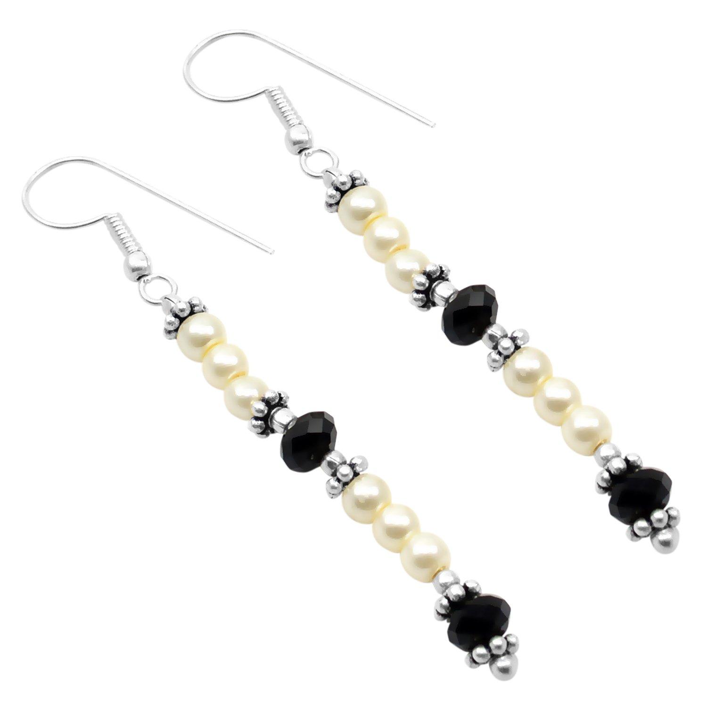Saamarth Impex Pearl /& Black Onyx Gemstone 925 Silver Plated Dangle Earring PG-103156