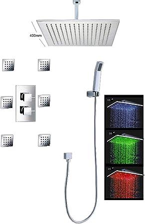 LED 16 Inch Matt Black Bathroom Shower Set Ceiling Mount Rainfall 6 Jets Spray