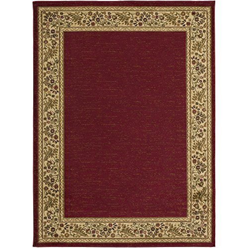 (Zarya Dark Red, Wheat and Camel Traditional Area Rug 6'7