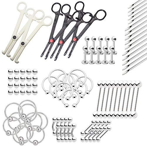 BodyJewelryOnline 80 pc. Body Piercing Kit Assorted Jewelry, 15 Needles 5 Tools - Lip, Nipple, Belly, Eyebrow, Tongue, Ear