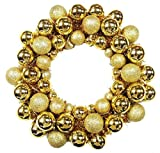 Queens of Christmas BAT-BWR-16-GO-PW Gold Ball Christmas Wreath with Battery Powered Pure White LED, 16''