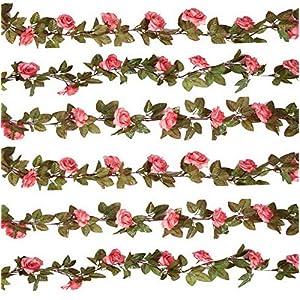 Werrox 3PCS (22.2FT) Artificial Rose Vine Silk Flower Garland Hanging Fake Roses Flowers Plants for Home Garden Office Hotel Decor,Pink | Model WDDNG -3589 | 3PCS 36