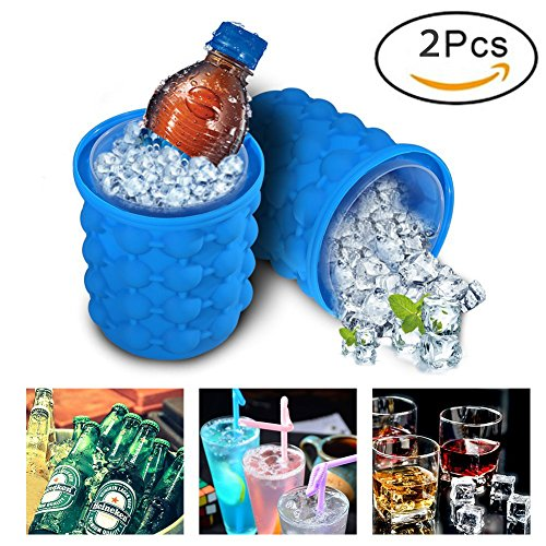 2018 New Ice Cube Maker Genie - Silicone Ice Bucket Dual-use Revolutionary Space Saving Ice Genie Kitchen Tools(2 (New Cube)
