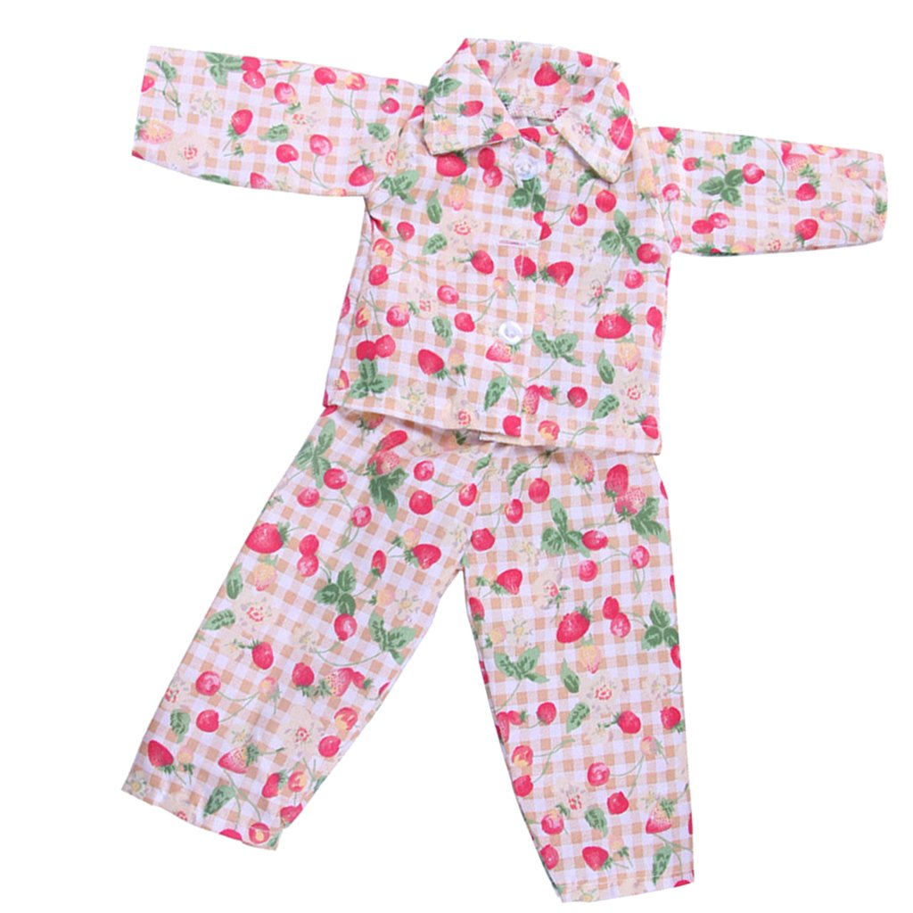 MagiDeal Strawberry PJS Pajamas for American/Our Generation/Journey Girl 18 inch Doll