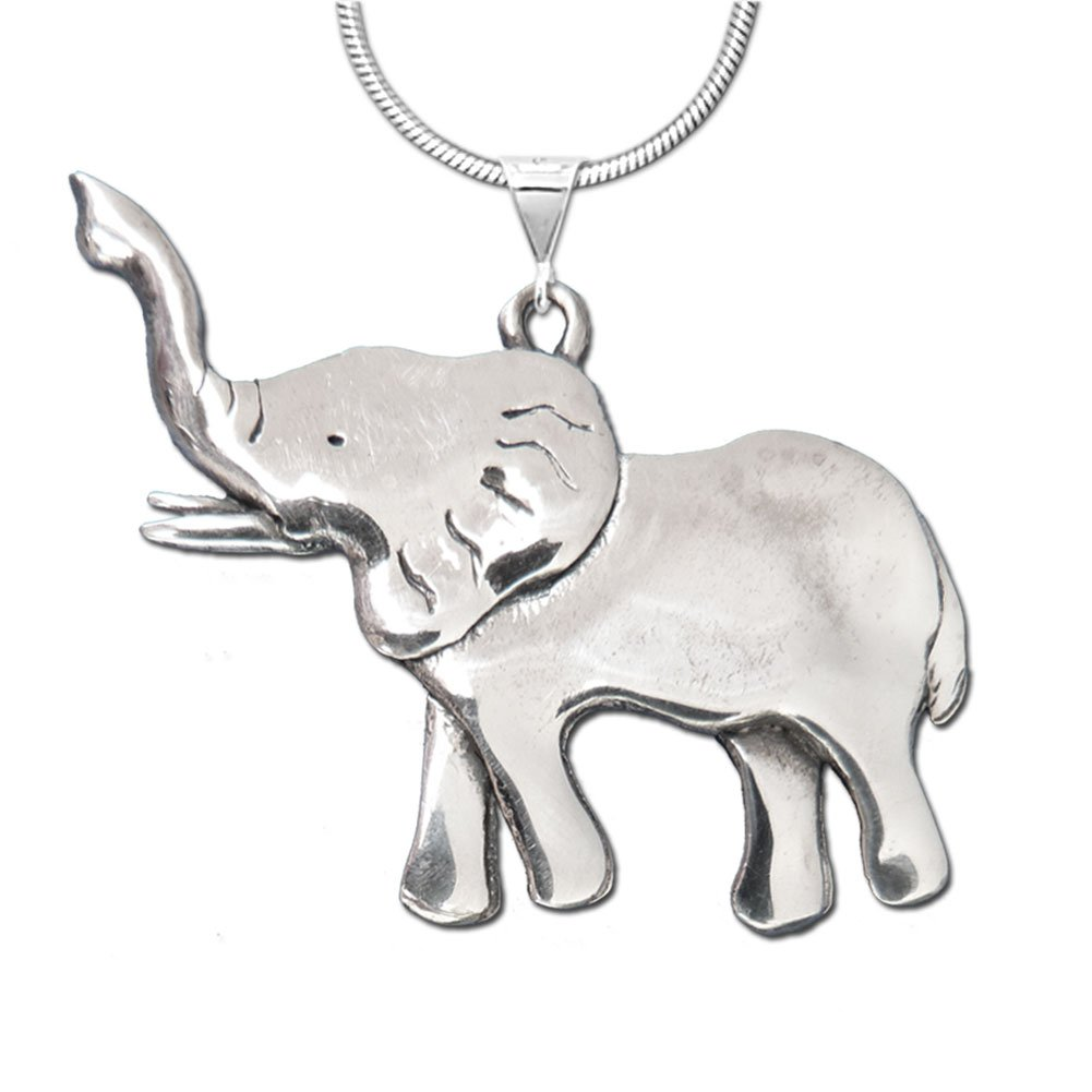 The Magic Zoo Sterling Silver Elephant Full Body Large Pendant