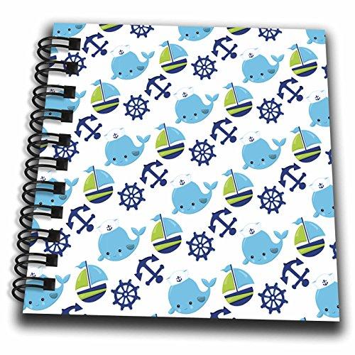 3dRose Anne Marie Baugh - Patterns - Cute Whales, Sail Boats, Sailing Wheels, Sailing Anchors Pattern - Mini Notepad 4 x 4 inch (db_274164_3)