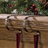 The Original MantleClip Stocking Holder with Snowflake Design, 2 Pack - Antique Brass