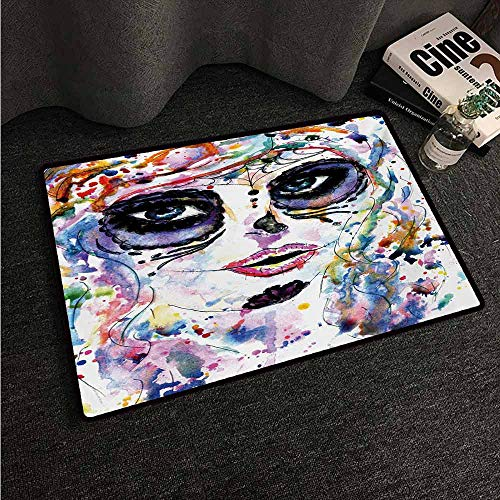 HCCJLCKS Non-Slip Door mat Sugar Skull Halloween Girl with Sugar Skull Makeup Watercolor Painting Style Creepy Look Non-Slip Door mat pad Machine can be Washed W16 xL24 Multicolor -