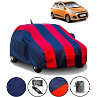 FABTEC Car Body Cover for Hyundai Grand i10 with Mirror Antenna Pocket and Storage Bag (Red & Blue)