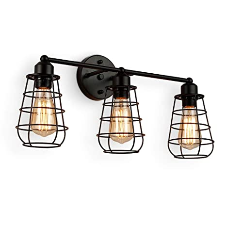 more photos 7c5b8 1f487 Create for Life 3-Light Industrial Vanity Lights Black Cage Wall Sconces  Vintage Rustic Bathroom Wall Lighting