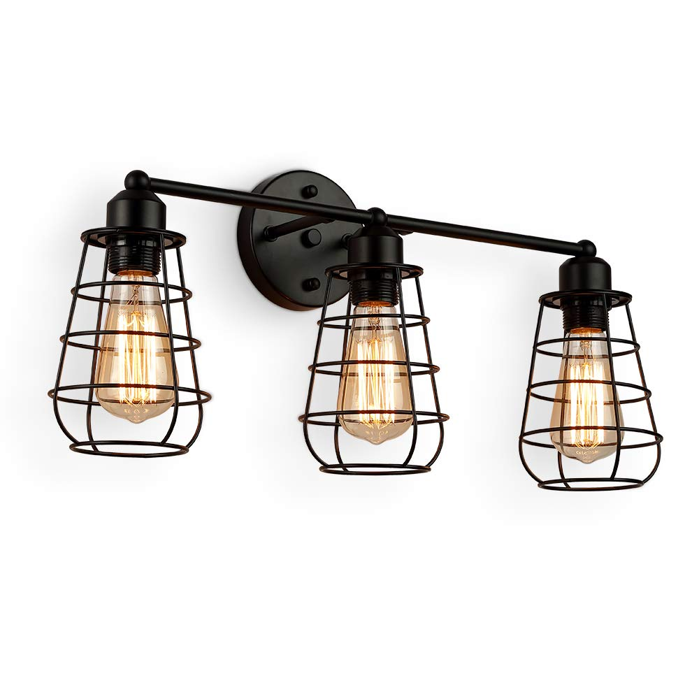 Create for Life 3-Light Industrial Vanity Lights Black Cage Wall Sconces Vintage Rustic Bathroom Wall Lighting