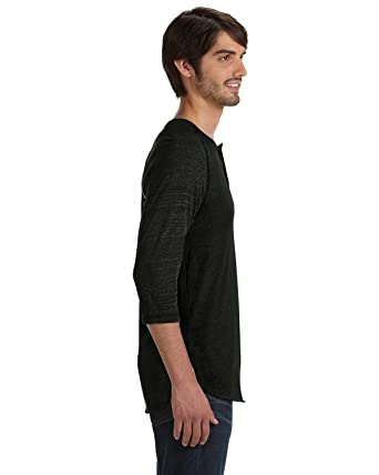 5b42d966 Image Unavailable. Image not available for. Color: Alternative Men's Raglan  Three-Quarter Sleeve Henley Shirt
