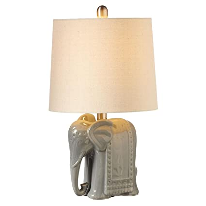 Superior Diva At Home Set Of 2 Gray And Gold Elephant Table Top Mini Accent Lamps  12.75u0026quot